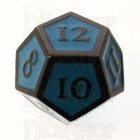 TDSO Metal Script Black Nickel & Blue D12 Dice