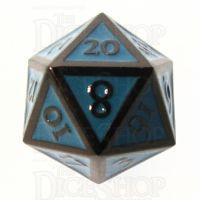 TDSO Metal Script Black Nickel & Blue D20 Dice