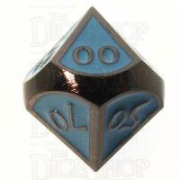TDSO Metal Script Black Nickel & Blue Percentile Dice