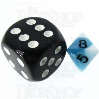 TDSO Duel Teal & White MINI 10mm D8 Dice