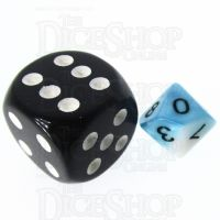 TDSO Duel Teal & White MINI 10mm D10 Dice