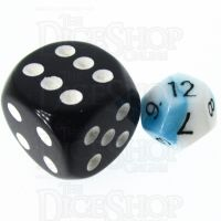 TDSO Duel Teal & White MINI 10mm D12 Dice