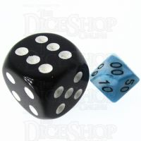 TDSO Duel Teal & White MINI 10mm Percentile Dice