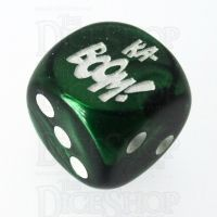 Chessex Gemini Green KA-BOOM! Logo D6 Spot Dice