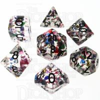 TDSO Confetti Rainbow & Black 7 Dice Polyset