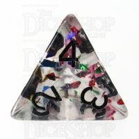 TDSO Confetti Rainbow & Black D4 Dice