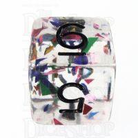 TDSO Confetti Rainbow & Black D6 Dice