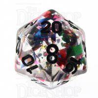 TDSO Confetti Rainbow & Black D20 Dice