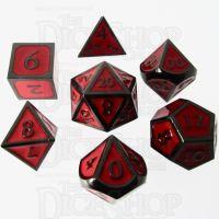 TDSO Metal Script Black Nickel & Red 7 Dice Polyset