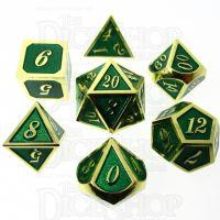 TDSO Metal Script Gold & Dark Green Shimmer 7 Dice Polyset