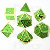 TDSO Metal Script Gold & Light Green 7 Dice Polyset
