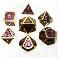 TDSO Metal Script Gold & Purple 7 Dice Polyset