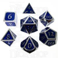 TDSO Metal Script Silver & Blue 7 Dice Polyset