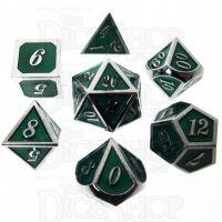 TDSO Metal Script Silver & Dark Green 7 Dice Polyset