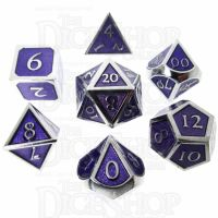 TDSO Metal Script Silver & Purple 7 Dice Polyset