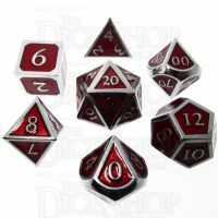 TDSO Metal Script Silver & Red 7 Dice Polyset