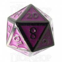 TDSO Metal Script Black Nickel & Purple D20 Dice