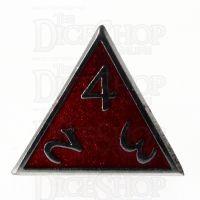 TDSO Metal Script Black Nickel & Red D4 Dice