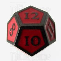 TDSO Metal Script Black Nickel & Red D12 Dice