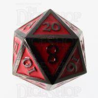 TDSO Metal Script Black Nickel & Red D20 Dice
