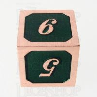 TDSO Metal Script Copper & Dark Green Shimmer D6 Dice