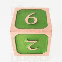 TDSO Metal Script Copper & Light Green D6 Dice