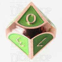 TDSO Metal Script Copper & Light Green D10 Dice