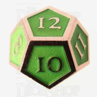TDSO Metal Script Copper & Light Green D12 Dice