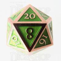 TDSO Metal Script Copper & Light Green D20 Dice