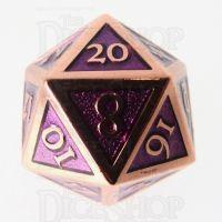 TDSO Metal Script Copper & Purple D20 Dice