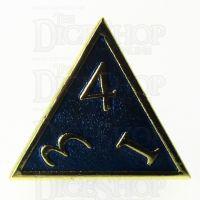 TDSO Metal Script Gold & Blue D4 Dice
