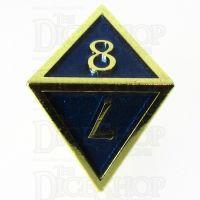 TDSO Metal Script Gold & Blue D8 Dice