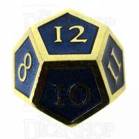 TDSO Metal Script Gold & Blue D12 Dice