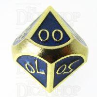 TDSO Metal Script Gold & Blue Percentile Dice
