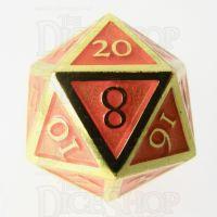 TDSO Metal Script Gold & Orange D20 Dice