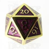 TDSO Metal Script Gold & Purple D20 Dice