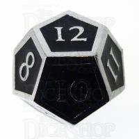TDSO Metal Script Silver & Black D12 Dice