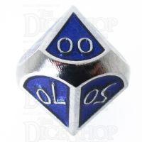 TDSO Metal Script Silver & Blue Percentile Dice