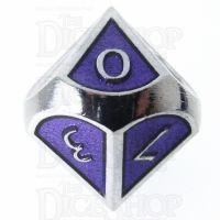 TDSO Metal Script Silver & Purple D10 Dice
