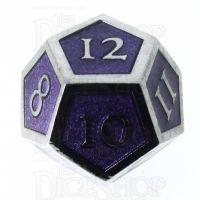 TDSO Metal Script Silver & Purple D12 Dice