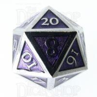 TDSO Metal Script Silver & Purple D20 Dice