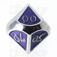 TDSO Metal Script Silver & Purple Percentile Dice