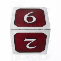 TDSO Metal Script Silver & Red D6 Dice