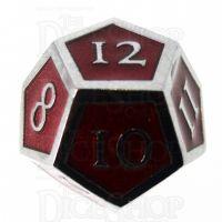 TDSO Metal Script Silver & Red D12 Dice
