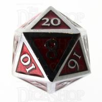 TDSO Metal Script Silver & Red D20 Dice