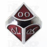 TDSO Metal Script Silver & Red Percentile Dice