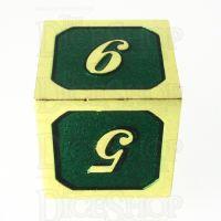 TDSO Metal Script Gold & Dark Green Shimmer D6 Dice