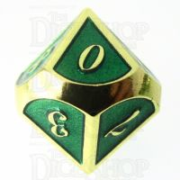 TDSO Metal Script Gold & Dark Green Shimmer D10 Dice