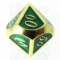 TDSO Metal Script Gold & Dark Green Shimmer Percentile Dice
