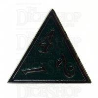 TDSO Metal Script Silver & Dark Green Shimmer D4 Dice
